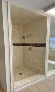 Shower Wrap with Tile Inlay